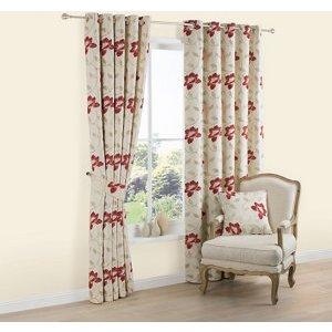 Colours Geranium Cream & Red Floral Jacquard Lined Eyelet Curtains (w)167cm (l)183cm  Pair