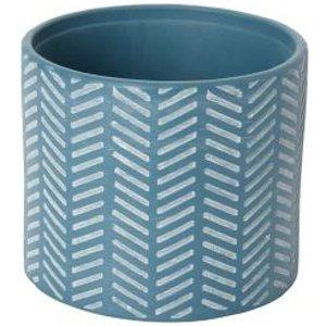 Goodhome Glazed Blue Coral Clay Herringbone Plant Pot (dia)16cm