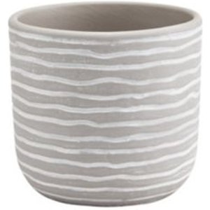 Goodhome Glazed Griffin Clay Striped Plant Pot (dia)12cm
