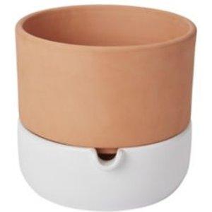 Goodhome Terracotta & White Terracotta Round Plant Pot (dia)22.8cm