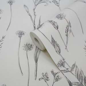 Goodhome Conyza Grey & White Floral Textured Wallpaper