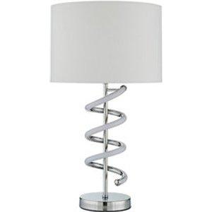 Inlight Deco Mirrored Chrome & White Led Circular Table Lamp