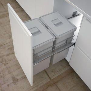 It Kitchens Double Grey Metal Rectangular Integrated Kitchen Bin  48l