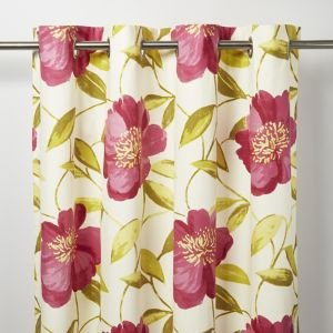 Goodhome Louga Cream  Green & Pink Floral Unlined Eyelet Curtain (w)167cm (l)183cm  Single