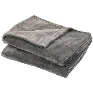 Goodhome Lulu Grey Plain Fleece Throw