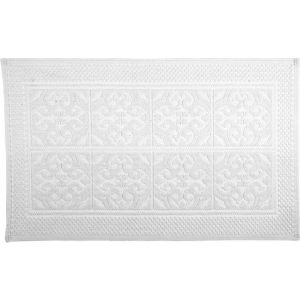 Marinette Saint-tropez Astone White Cotton Tile Bath Mat (l)500mm (w)700mm