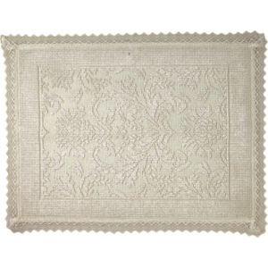 Marinette Saint-tropez Platinum Beige Floral Cotton Bath Mat (l)500mm (w)700mm