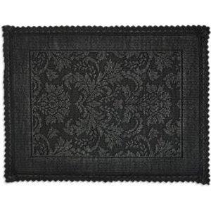 Marinette Saint-tropez Platinum Black Floral Cotton Bath Mat (l)500mm (w)700mm