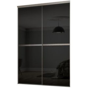Spacepro Minimalist Black Sliding Wardrobe Door Kit (h)2260 Mm (w)1200mm  Pack Of 2