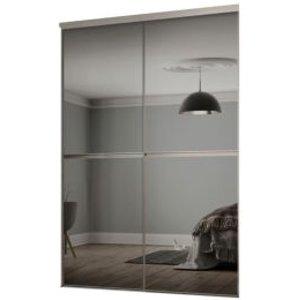 Spacepro Minimalist Mirrored Grey Sliding Wardrobe Door Kit (h)2260 Mm (w)1504mm  Pack Of 2