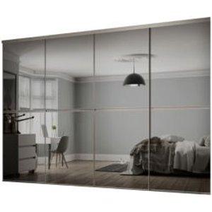 Spacepro Minimalist Mirrored Grey Sliding Wardrobe Door Kit (h)2260 Mm (w)2400mm  Pack Of 4