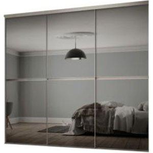 Spacepro Minimalist Mirrored Grey Sliding Wardrobe Door Kit (h)2260 Mm (w)2246mm  Pack Of 3