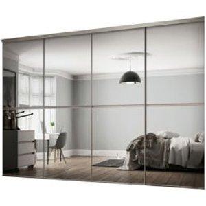 Spacepro Minimalist Mirrored 4 Door Sliding Wardrobe Door Kit (h)2260mm (w)3008mm