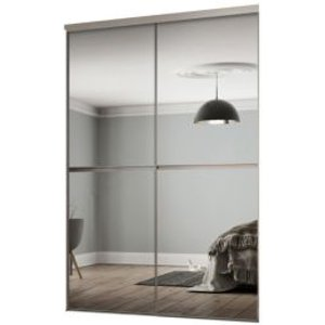 Spacepro Minimalist Mirrored Sliding Wardrobe Door Kit (h)2260 Mm (w)1200mm  Pack Of 2