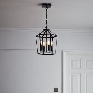 Goodhome Nantan Matt Black 4 Lamp Pendant Ceiling Light  (dia)300mm