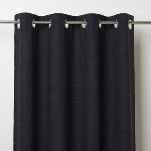 Goodhome Novan Black Plain Unlined Eyelet Curtain (w)167cm (l)228cm  Single