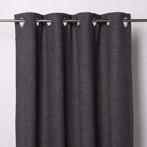 Goodhome Novan Dark Grey Plain Unlined Eyelet Curtain (w)167cm (l)228cm  Single