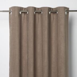 Goodhome Pahea Brown Chenille Unlined Eyelet Curtain (w)135cm (l)260cm  Single