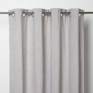 Goodhome Pahea Grey Chenille Unlined Eyelet Curtain (w)167cm (l)183cm  Single