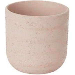 Goodhome Peach Whip Clay Striped Plant Pot (dia)14.1cm