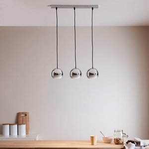 Goodhome Roccheta Chrome Effect 3 Lamp Pendant Ceiling Light  (dia)140mm