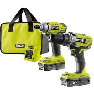 Ryobi One+ Cordless 18v 2ah One+ Brushed Drill & Impact Driver 2 Batteries With 6 Accessor