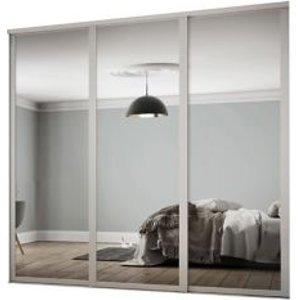 Spacepro Shaker Contemporary Mirrored Dove Grey Sliding Wardrobe Door (h)2260 Mm (w)1680mm