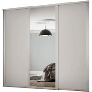 Spacepro Shaker Contemporary Mirrored Dove Grey Sliding Wardrobe Door (h)2260 Mm (w)1753mm