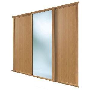 Spacepro Shaker Mirrored Oak Effect Sliding Wardrobe Door (h)2223 Mm (w)610mm  Pack Of 3