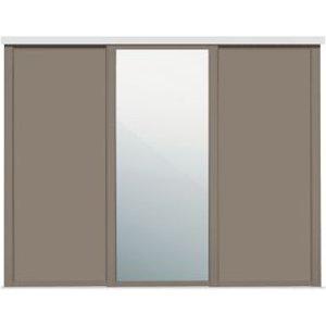 Spacepro Shaker Mirrored Stone Grey 3 Door Sliding Wardrobe Door Kit (h)2260mm (w)1680mm