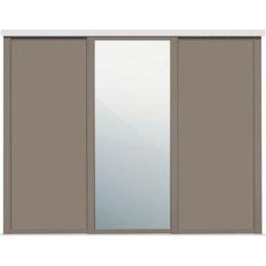 Spacepro Shaker Mirrored Stone Grey Sliding Wardrobe Door (w)914mm  Pack Of 3