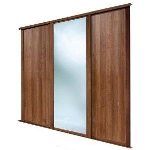 Spacepro Shaker Mirrored Walnut Effect Sliding Wardrobe Door (h)2223 Mm (w)762mm  Pack Of 3