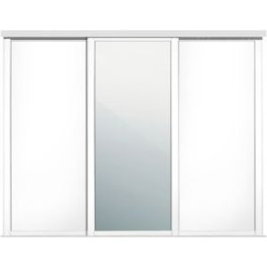 Spacepro Shaker Mirrored White Sliding Wardrobe Door (w)762mm  Pack Of 3