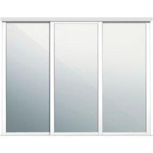 Spacepro Shaker Mirrored White Sliding Wardrobe Door (w)914mm  Pack Of 3
