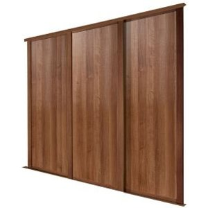 Spacepro Shaker Natural Walnut Effect Sliding Wardrobe Door (h)2223 Mm (w)610mm  Pack Of 3