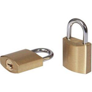 Smith & Locke Brass Cylinder Open Shackle Padlock (w)21mm  Pack Of 2