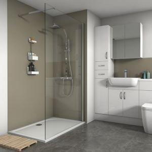 Splashwall Matt Fawn 3 Sided Shower Panel Kit (l)1200mm (w)1200mm (t)4mm