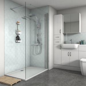 Splashwall Gloss Blue Rings Shower Panel (l)2420mm (w)1200mm (t)4mm