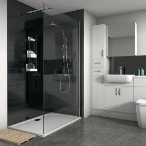Splashwall Gloss Brushed Black Tile Effect 3 Sided Shower Panel Kit (l)2420mm (w)1200mm (t