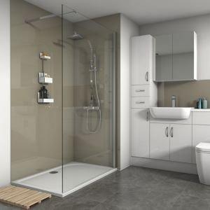 Splashwall Gloss Fawn 3 Sided Shower Panel Kit (l)1200mm (w)1200mm (t)4mm