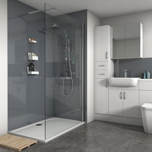 Splashwall Gloss Flint 3 Sided Shower Panel Kit (l)1200mm (w)1200mm (t)4mm