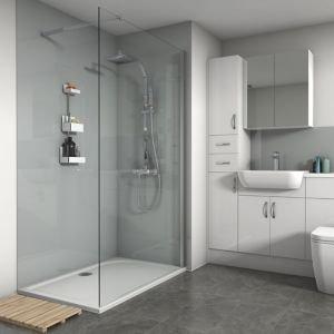 Splashwall Gloss Grey 3 Sided Shower Panel Kit (l)1200mm (w)1200mm (t)4mm