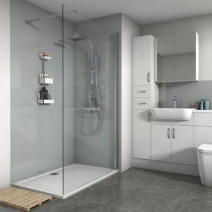 Splashwall Gloss Grey Shower Panel (w)600mm (t)4mm