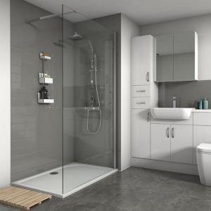 Splashwall Gloss Grey Tile Effect Shower Panel (h)2420mm (w)1200mm (t)3mm