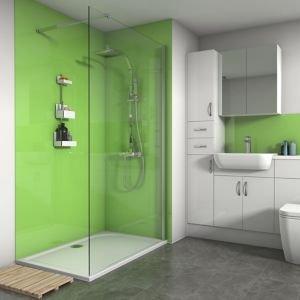 Splashwall Gloss Lime 3 Sided Shower Panel Kit (l)1200mm (w)1200mm (t)4mm