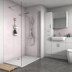 Splashwall Gloss Pale Pink 2 Sided Shower Panel Kit (l)1200mm (w)1200mm (t)4mm
