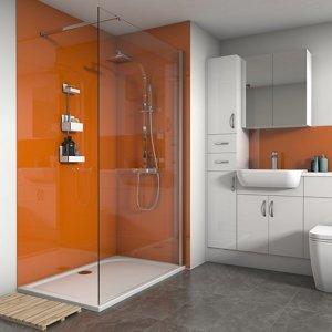 Splashwall Gloss Pumpkin 3 Sided Shower Panel Kit (l)1200mm (w)1200mm (t)4mm