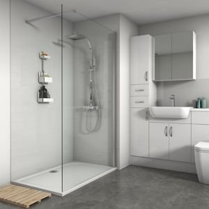 Splashwall Horizontal Tile Effect Gloss White Shower Panel (w)2420mm (t)3mm