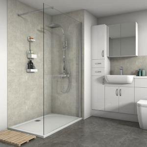Splashwall Matt Cream Concrete Shower Panel (h)2420mm (w)600mm (t)11mm