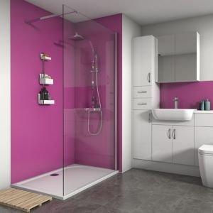 Splashwall Matt Fuchsia 2 Sided Shower Panel Kit (l)1200mm (w)1200mm (t)4mm
